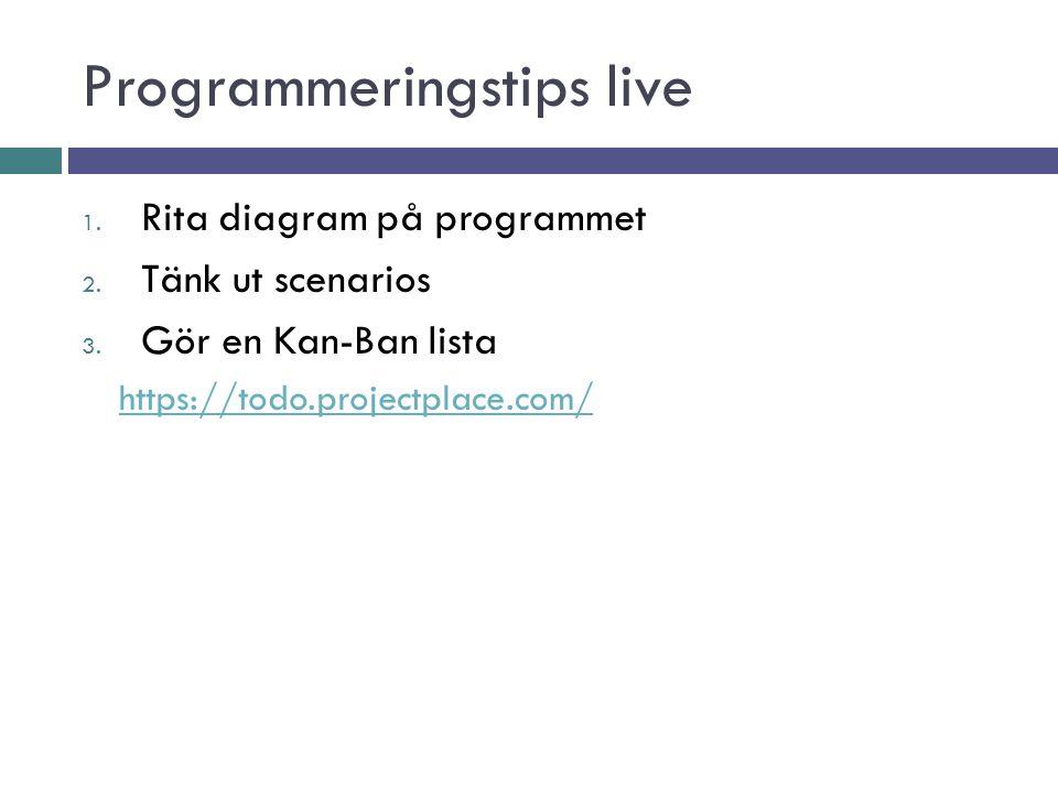 Programmeringstips live 1. Rita diagram på programmet 2.