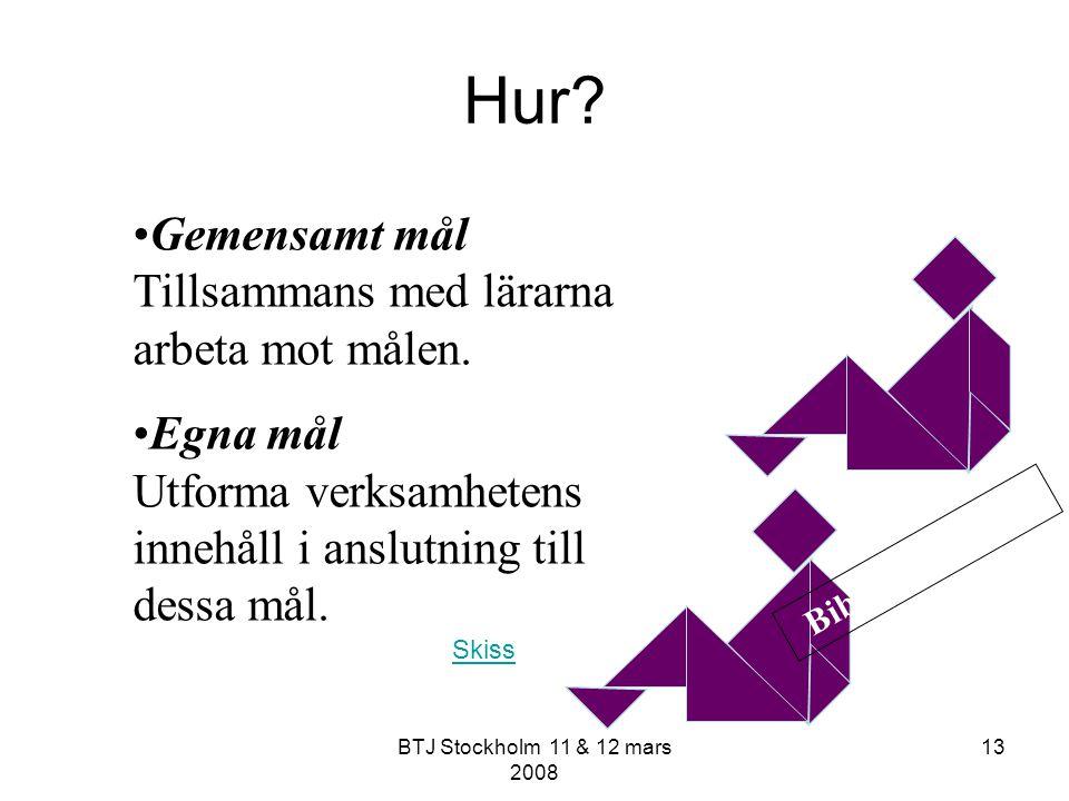 BTJ Stockholm 11 & 12 mars 2008 13 Hur? Gemensamt mål Tillsammans med lärarna arbeta mot målen. Egna mål Utforma verksamhetens innehåll i anslutning t