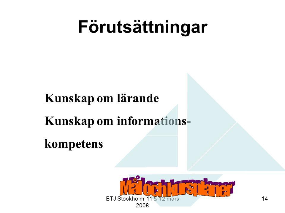 BTJ Stockholm 11 & 12 mars 2008 14 Förutsättningar Kunskap om lärande Kunskap om informations- kompetens