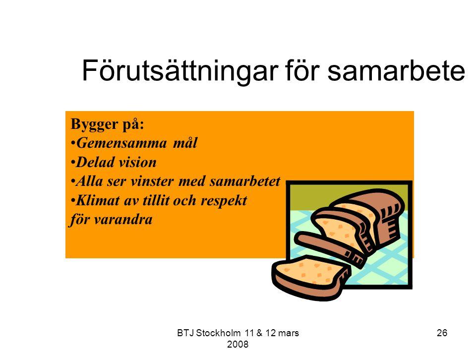 BTJ Stockholm 11 & 12 mars 2008 26 Förutsättningar för samarbete Bygger på: Gemensamma mål Delad vision Alla ser vinster med samarbetet Klimat av till