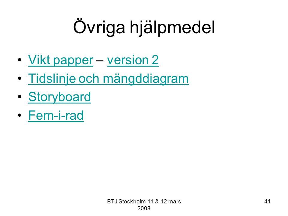 BTJ Stockholm 11 & 12 mars 2008 41 Övriga hjälpmedel Vikt papper – version 2Vikt papperversion 2 Tidslinje och mängddiagram Storyboard Fem-i-rad