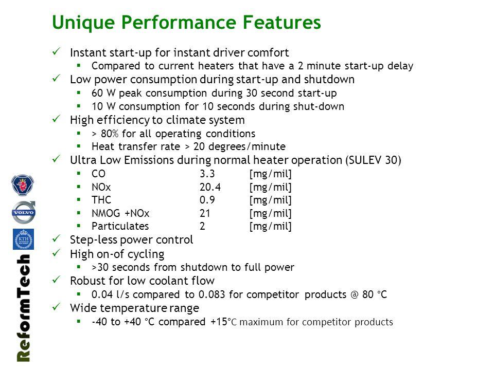 Resultat emissions tester Reformtech / VCC Mätningar utfört av VCC I Göteborg Competitor