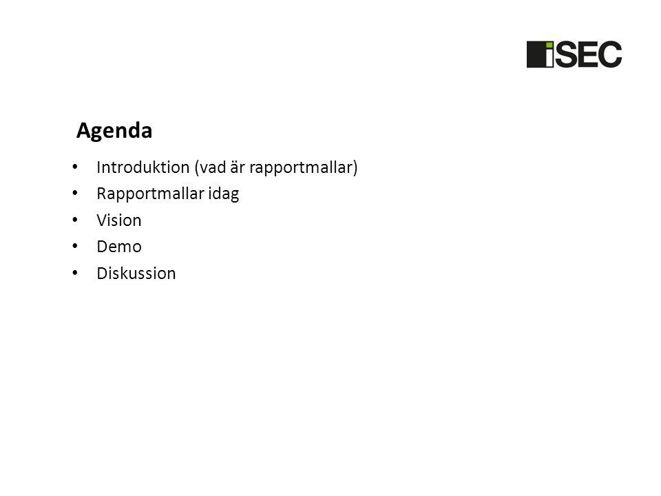 Agenda Introduktion (vad är rapportmallar) Rapportmallar idag Vision Demo Diskussion