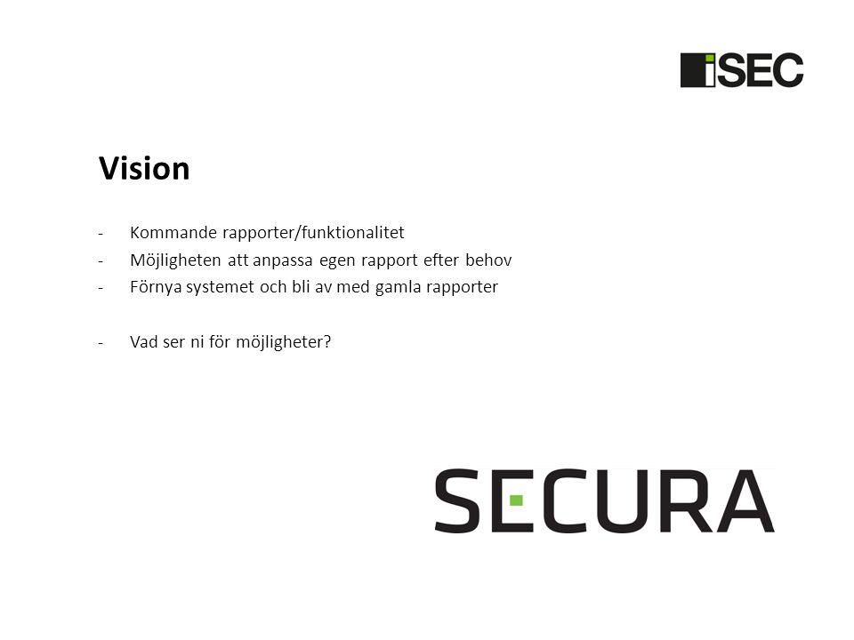 Vision -Kommande rapporter/funktionalitet -Möjligheten att anpassa egen rapport efter behov -Förnya systemet och bli av med gamla rapporter -Vad ser ni för möjligheter