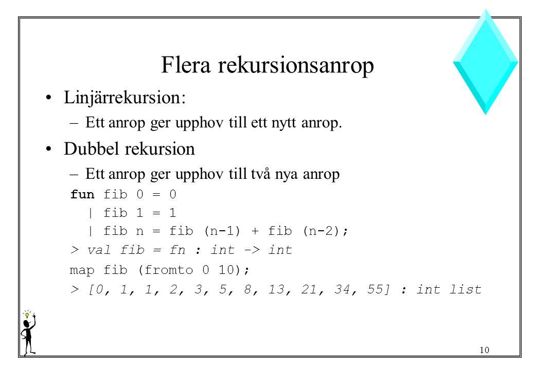10 Flera rekursionsanrop Linjärrekursion: –Ett anrop ger upphov till ett nytt anrop.