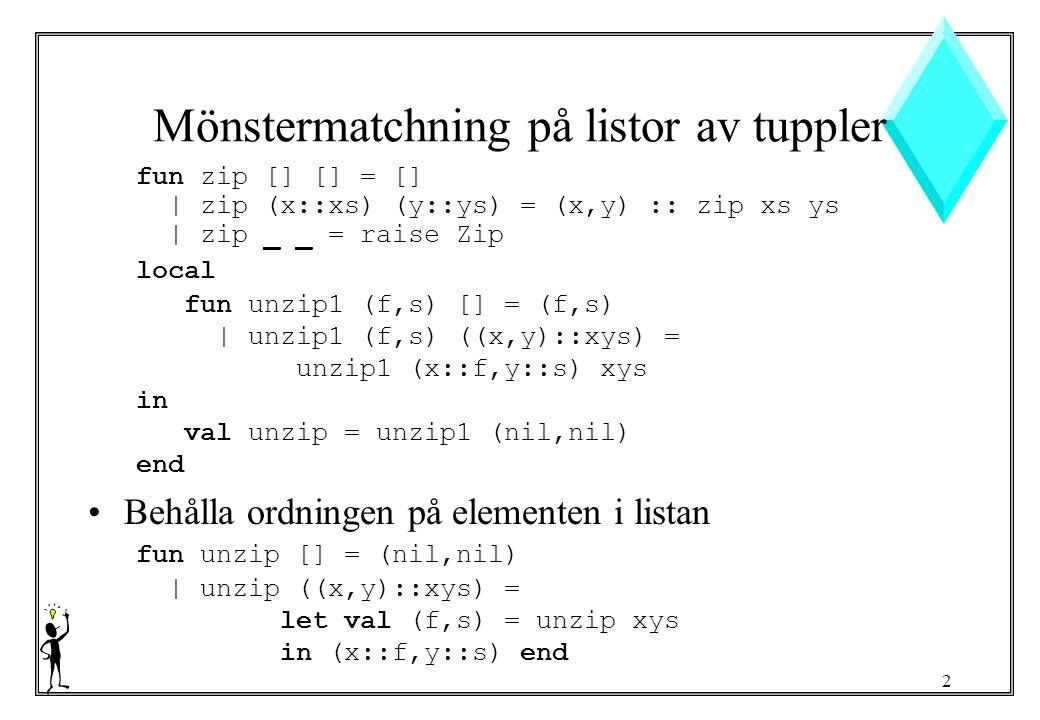 2 Mönstermatchning på listor av tuppler fun zip [] [] = [] | zip (x::xs) (y::ys) = (x,y) :: zip xs ys | zip _ _ = raise Zip local fun unzip1 (f,s) [] = (f,s) | unzip1 (f,s) ((x,y)::xys) = unzip1 (x::f,y::s) xys in val unzip = unzip1 (nil,nil) end Behålla ordningen på elementen i listan fun unzip [] = (nil,nil) | unzip ((x,y)::xys) = let val (f,s) = unzip xys in (x::f,y::s) end