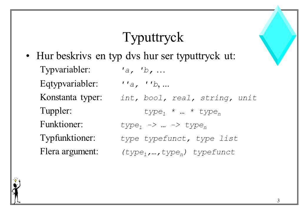 3 Typuttryck Hur beskrivs en typ dvs hur ser typuttryck ut: Typvariabler: a, b, … Eqtypvariabler: a, b,...