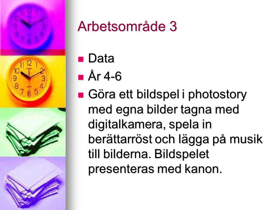 Arbetsområde 3 Data Data År 4-6 År 4-6 Göra ett bildspel i photostory med egna bilder tagna med digitalkamera, spela in berättarröst och lägga på musik till bilderna.
