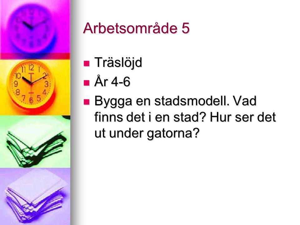Arbetsområde 5 Träslöjd Träslöjd År 4-6 År 4-6 Bygga en stadsmodell.