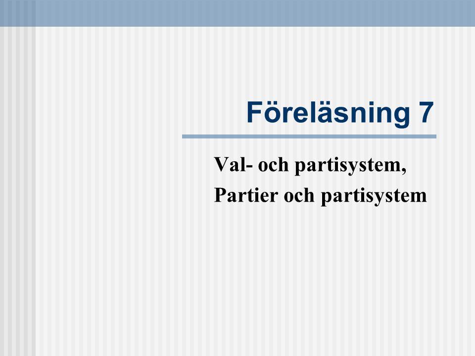 Föreläsning 7 Val- och partisystem, Partier och partisystem