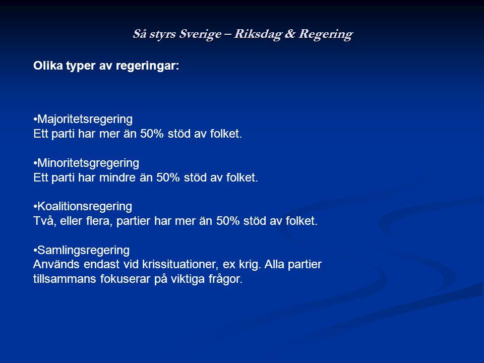 Så styrs Sverige – Riksdag & Regering Majoritetsregering Ett parti har mer än 50% stöd av folket. Minoritetsgregering Ett parti har mindre än 50% stöd