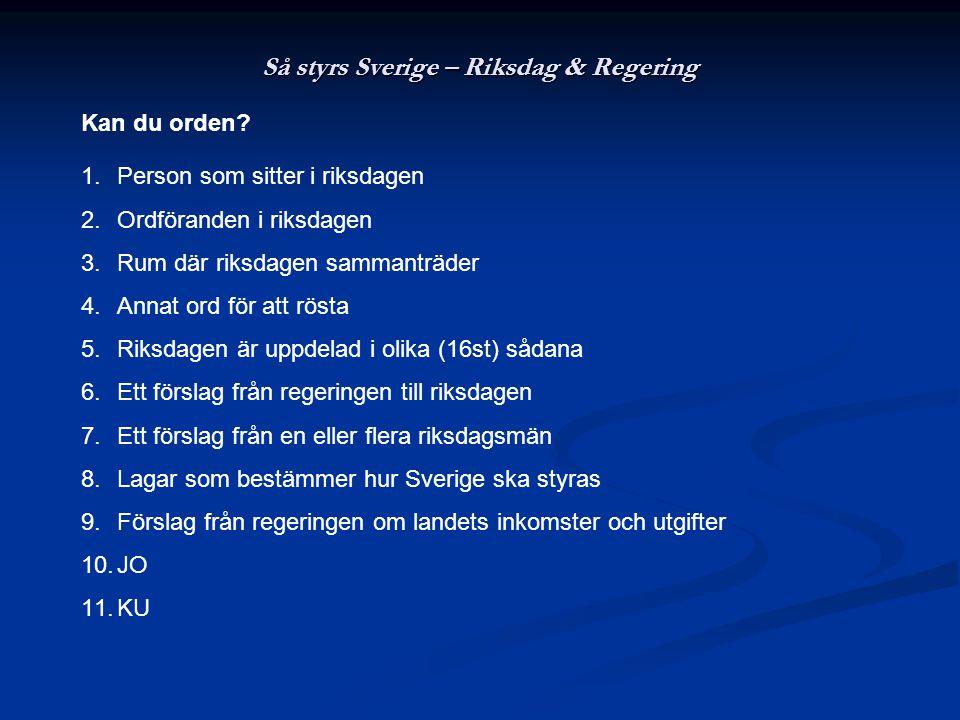 Så styrs Sverige – Riksdag & Regering Kan du orden? 1.Person som sitter i riksdagen 2.Ordföranden i riksdagen 3.Rum där riksdagen sammanträder 4.Annat