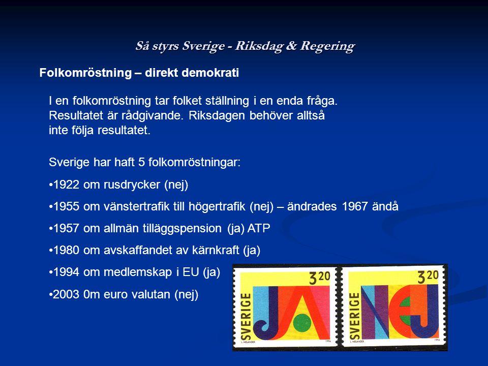 Så styrs Sverige - Riksdag & Regering Folkomröstning – direkt demokrati I en folkomröstning tar folket ställning i en enda fråga. Resultatet är rådgiv