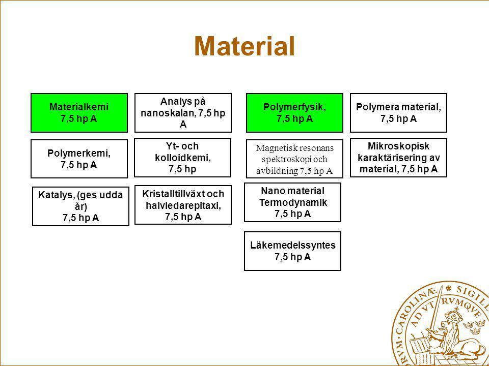 Material Materialkemi 7,5 hp A Analys på nanoskalan, 7,5 hp A Polymerfysik, 7,5 hp A Polymera material, 7,5 hp A Polymerkemi, 7,5 hp A Läkemedelssynte