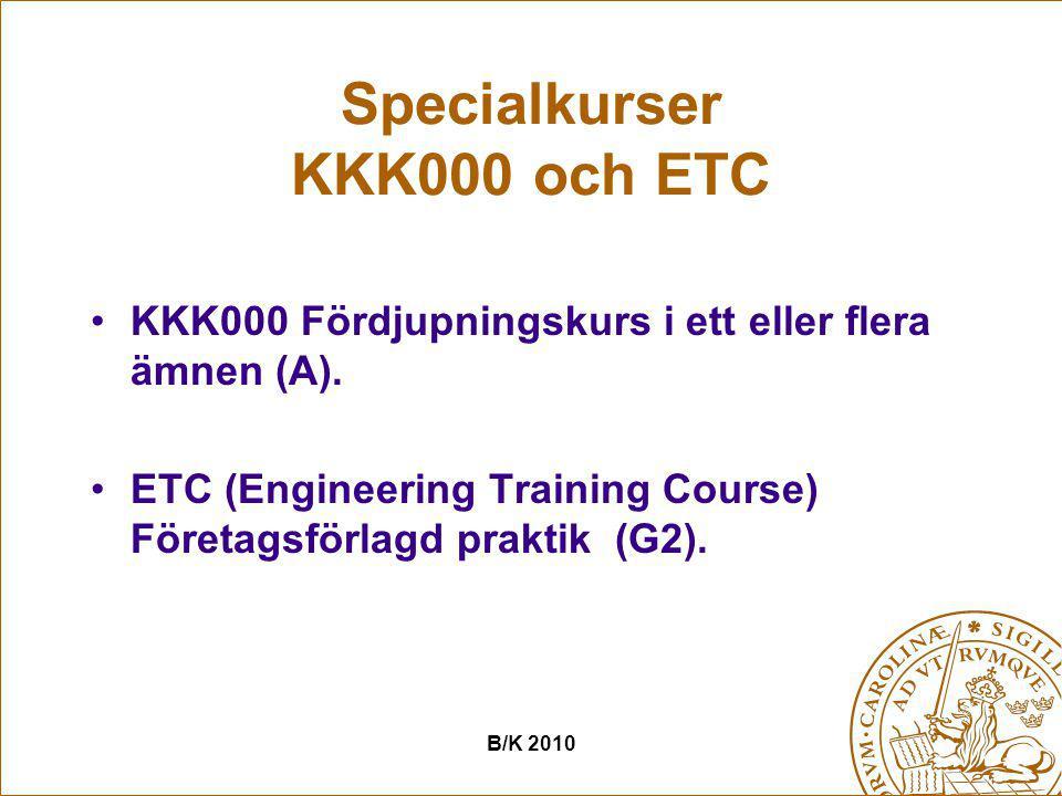 Specialkurser KKK000 och ETC KKK000 Fördjupningskurs i ett eller flera ämnen (A). ETC (Engineering Training Course) Företagsförlagd praktik (G2). B/K