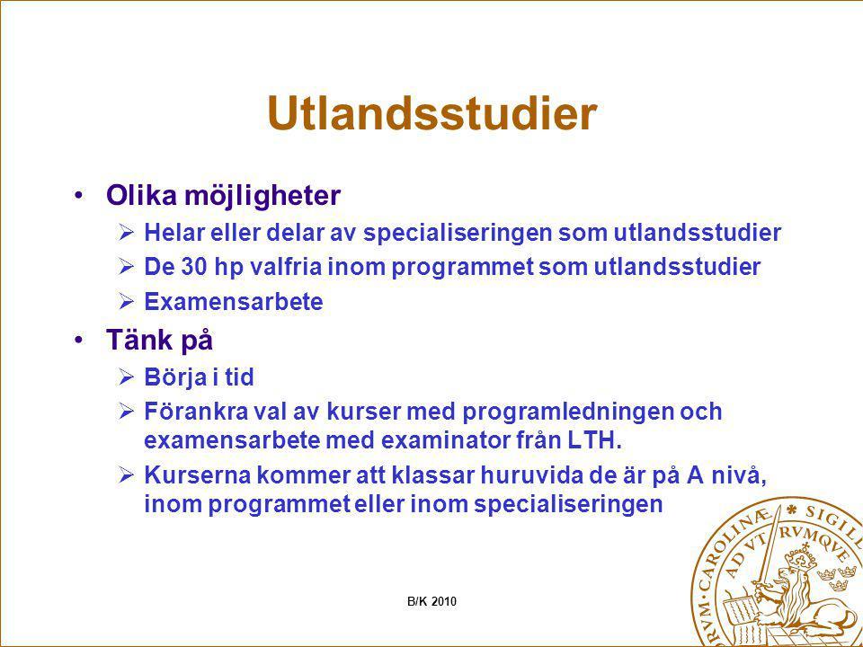 Utlandsstudier Olika möjligheter  Helar eller delar av specialiseringen som utlandsstudier  De 30 hp valfria inom programmet som utlandsstudier  Ex