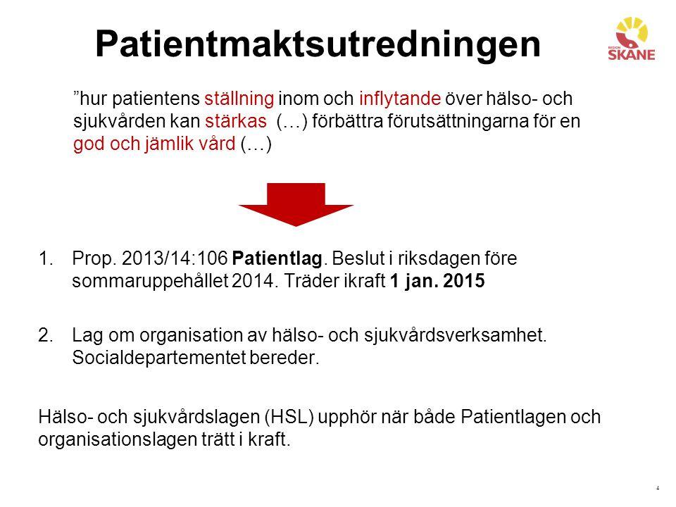 4 Patientmaktsutredningen 1.Prop. 2013/14:106 Patientlag.