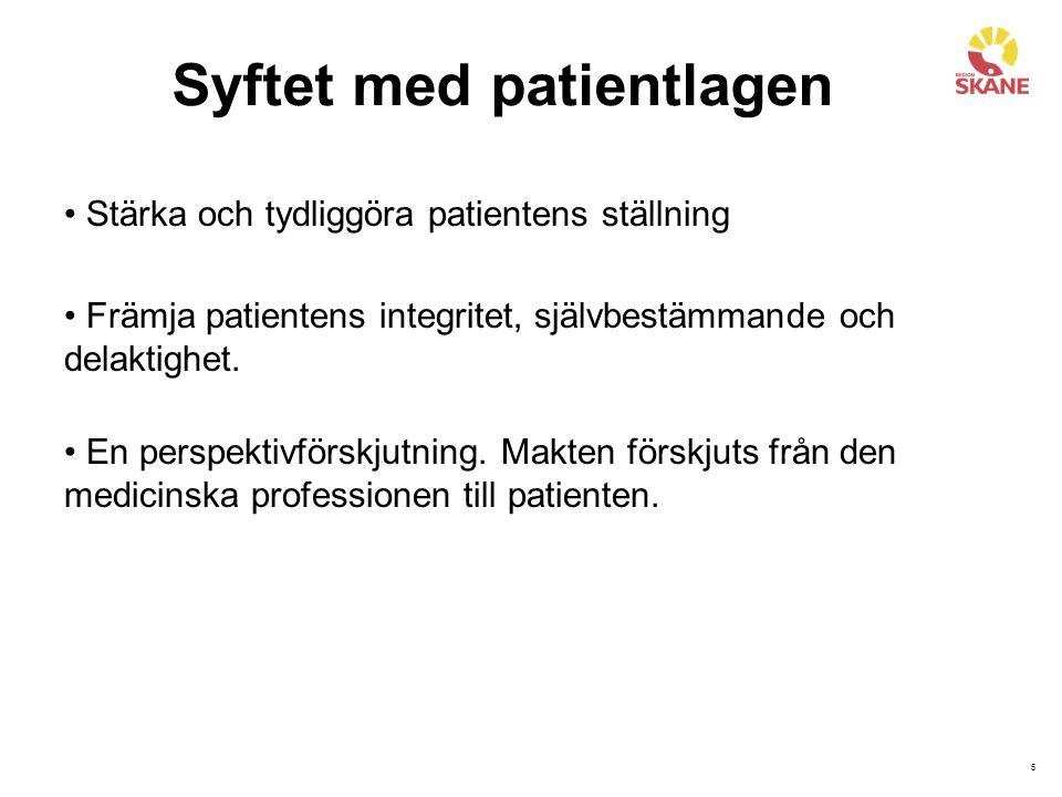 6 Patientlagens innehåll Inledande bestämmelser (1 kap.) Tillgänglighet (2 kap.) Information (3 kap.) Samtycke (4 kap.) Delaktighet (5 kap.) Fast vårdkontakt och individuell planering (6 kap.) Val av behandlingsalternativ och hjälpmedel (7 kap.) Ny medicinsk bedömning (8 kap.) Val av utförare (9 kap.) Personuppgifter och intyg (10 kap.) Synpunkter, klagomål och patientsäkerhet (11 kap.)