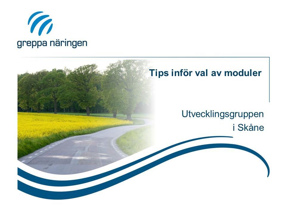 Tips inför val av moduler Utvecklingsgruppen i Skåne