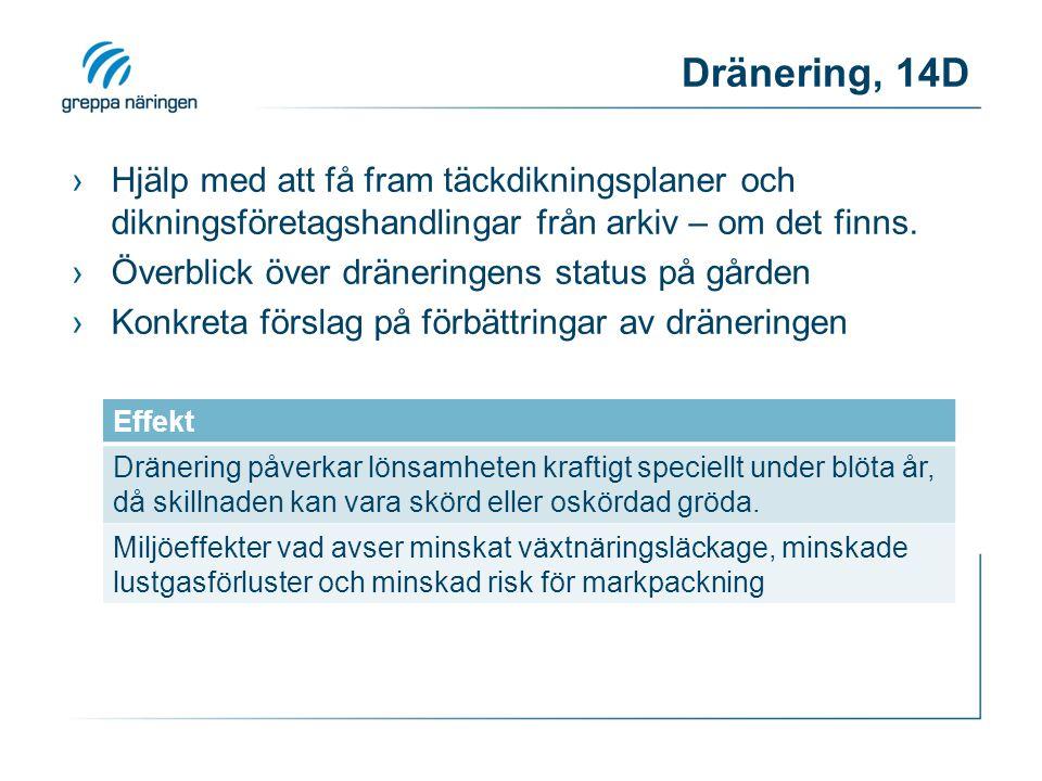 Dränering, 14D ›Hjälp med att få fram täckdikningsplaner och dikningsföretagshandlingar från arkiv – om det finns. ›Överblick över dräneringens status