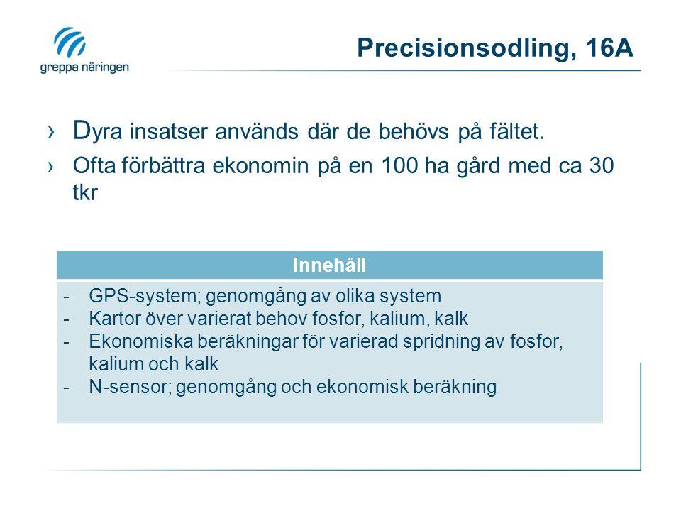 Precisionsodling, 16A ›D yra insatser används där de behövs på fältet. ›Ofta förbättra ekonomin på en 100 ha gård med ca 30 tkr Innehåll -GPS-system;
