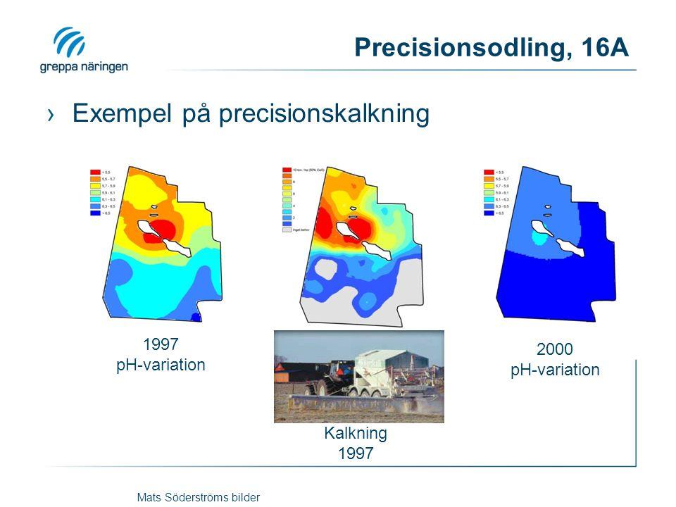 Precisionsodling, 16A ›Exempel på precisionskalkning 1997 pH-variation 2000 pH-variation Kalkning 1997 Mats Söderströms bilder