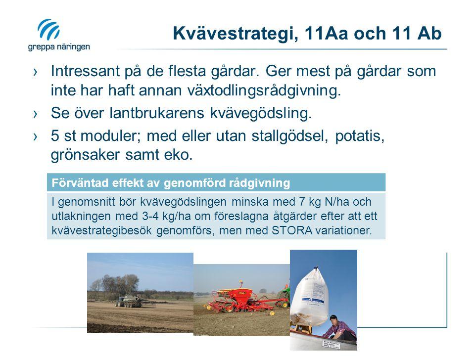 Kvävestrategi, 11Aa och 11 Ab ›Intressant på de flesta gårdar. Ger mest på gårdar som inte har haft annan växtodlingsrådgivning. ›Se över lantbrukaren
