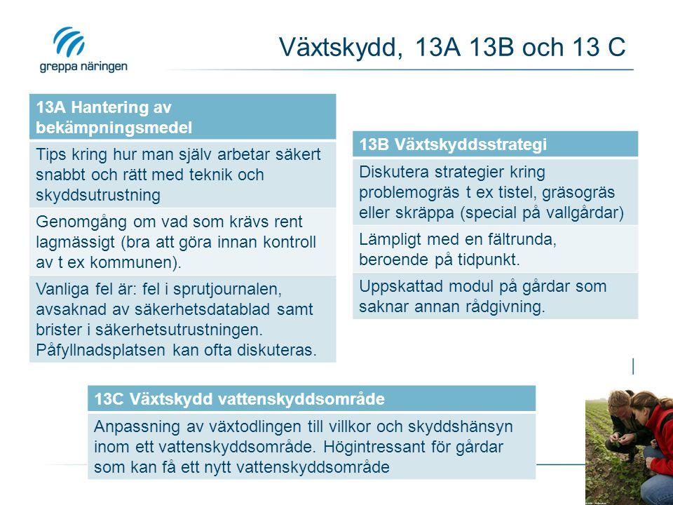 Växtskydd, 13A 13B och 13 C 13A Hantering av bekämpningsmedel Tips kring hur man själv arbetar säkert snabbt och rätt med teknik och skyddsutrustning