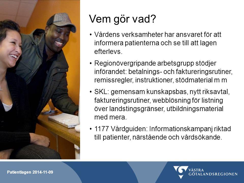 Patientlagen 2014-11-09 Vem gör vad? Vårdens verksamheter har ansvaret för att informera patienterna och se till att lagen efterlevs. Regionövergripan