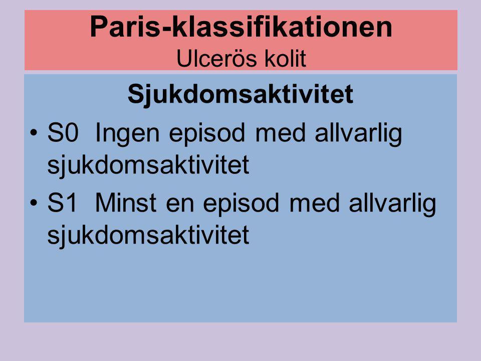 Paris-klassifikationen Ulcerös kolit Sjukdomsaktivitet S0 Ingen episod med allvarlig sjukdomsaktivitet S1 Minst en episod med allvarlig sjukdomsaktivi