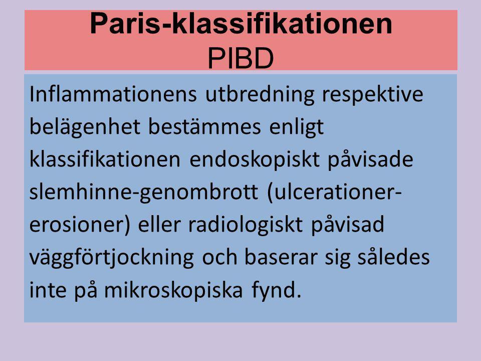 Paris-klassifikationen PIBD Inflammationens utbredning respektive belägenhet bestämmes enligt klassifikationen endoskopiskt påvisade slemhinne-genombr