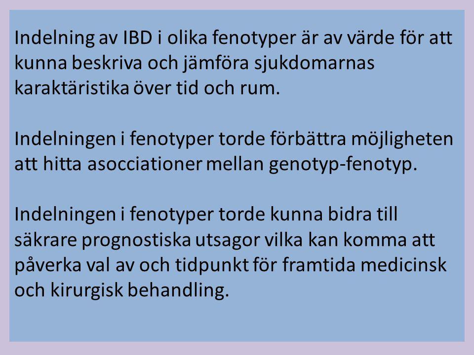 Indelning av IBD i olika fenotyper är av värde för att kunna beskriva och jämföra sjukdomarnas karaktäristika över tid och rum. Indelningen i fenotype