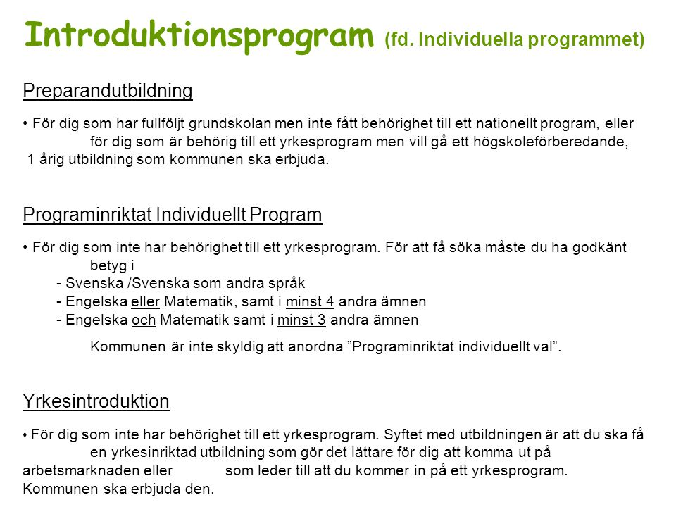 Introduktionsprogram (fd.