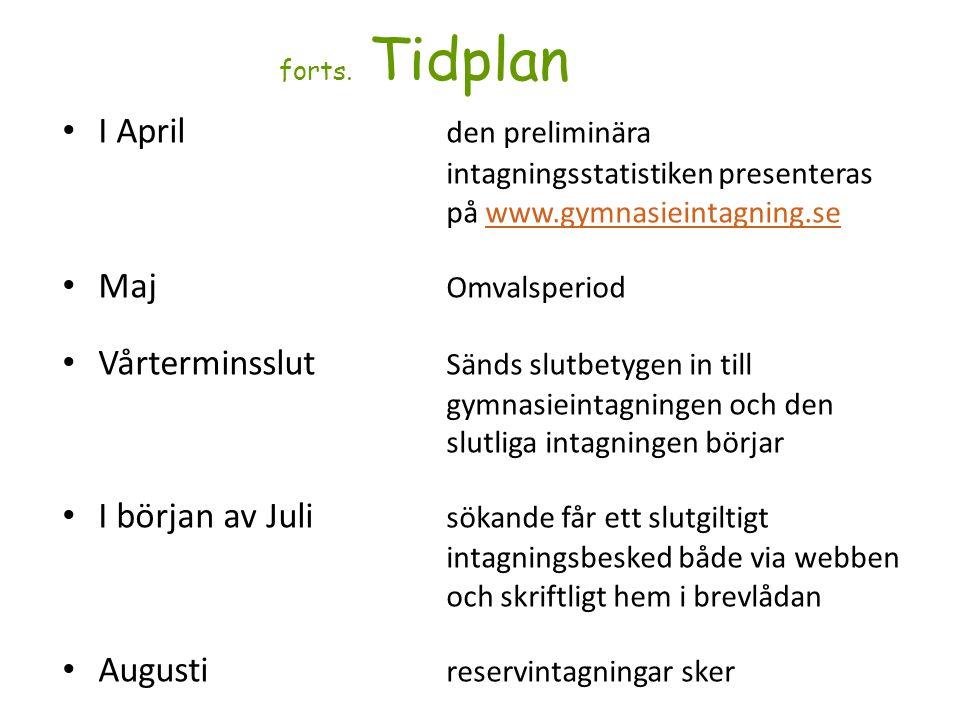 forts. Tidplan I April den preliminära intagningsstatistiken presenteras på www.gymnasieintagning.sewww.gymnasieintagning.se Maj Omvalsperiod Vårtermi