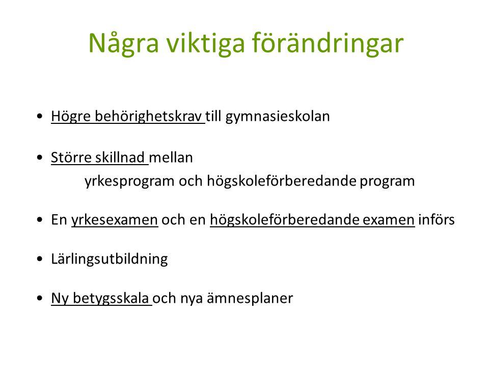 Behörighet till gymnasieskolan Yrkesprogram: För att vara behörig till ett yrkesprogram krävs att man har godkänt betyg i : svenska/svenska som andra språk matematik engelska plus godkänt betyg i 5 ytterligare ämnen, det vill säga i 8 ämnen totalt.
