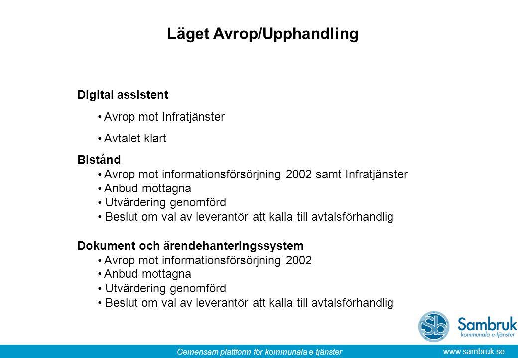 Gemensam plattform för kommunala e-tjänster www.sambruk.se Läget Avrop/Upphandling Digital assistent Avrop mot Infratjänster Avtalet klart Bistånd Avr