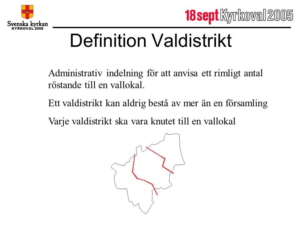 KYRKOVAL 2005 Definition Valdistrikt Administrativ indelning för att anvisa ett rimligt antal röstande till en vallokal. Ett valdistrikt kan aldrig be
