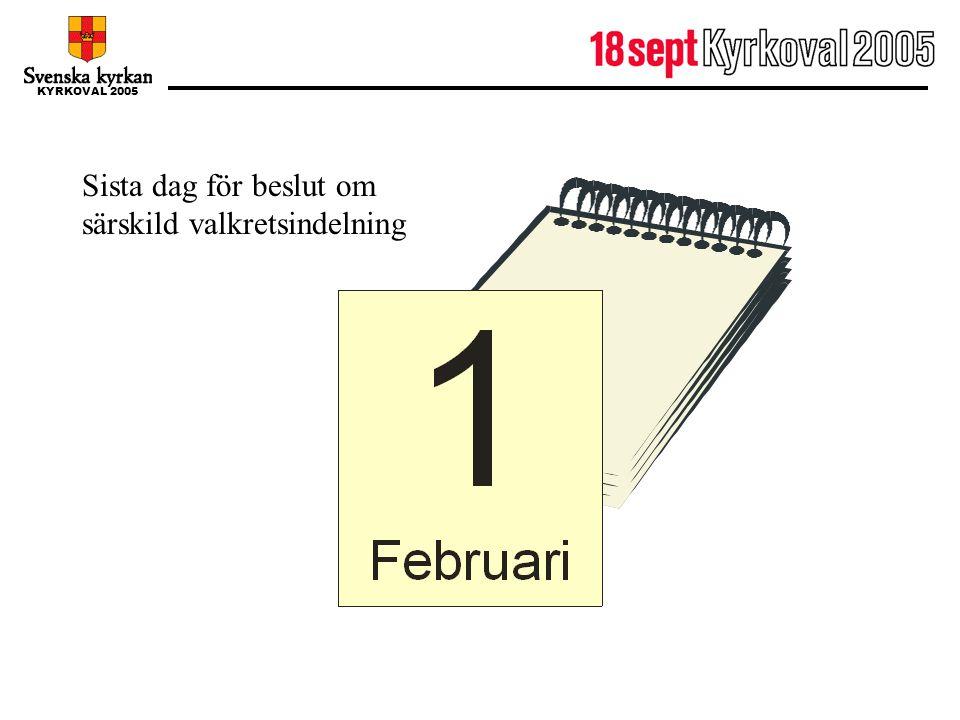 KYRKOVAL 2005 1 februari Sista dag för beslut om särskild valkretsindelning