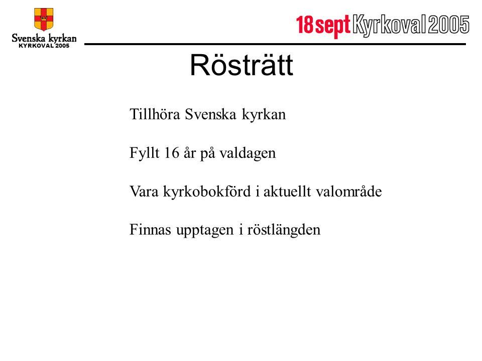 KYRKOVAL 2005 Rösträtt Tillhöra Svenska kyrkan Fyllt 16 år på valdagen Vara kyrkobokförd i aktuellt valområde Finnas upptagen i röstlängden