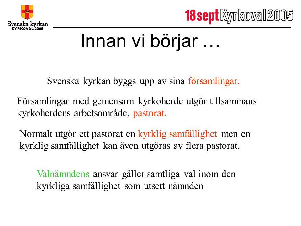 KYRKOVAL 2005 Innan vi börjar … Svenska kyrkan byggs upp av sina församlingar. Församlingar med gemensam kyrkoherde utgör tillsammans kyrkoherdens arb