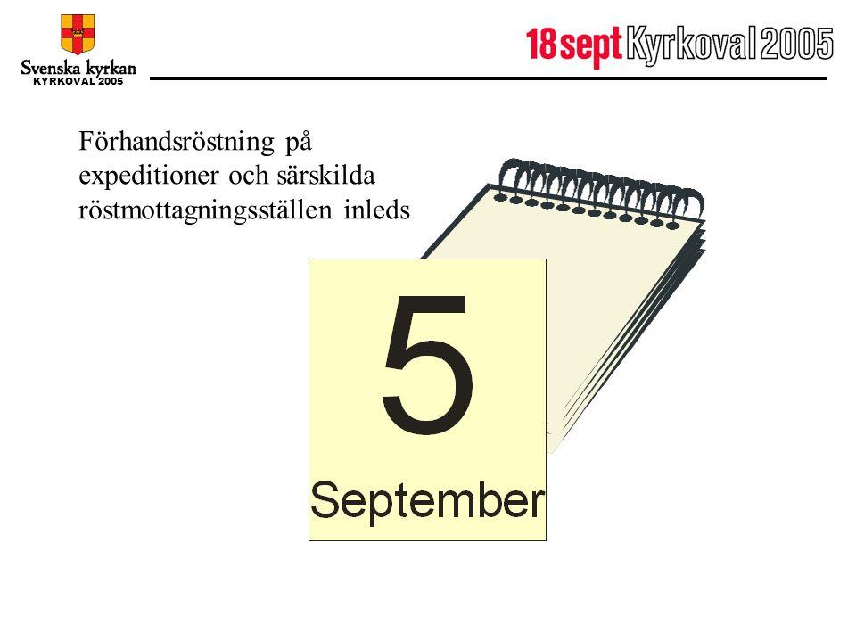 KYRKOVAL 2005 5 september Förhandsröstning på expeditioner och särskilda röstmottagningsställen inleds