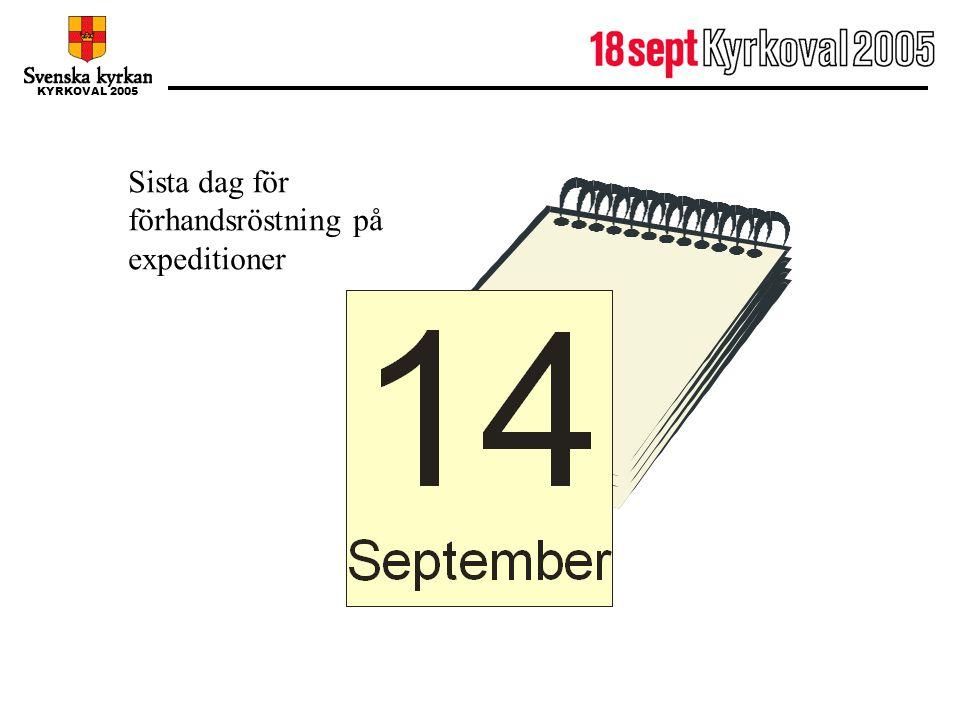 KYRKOVAL 2005 14 september Sista dag för förhandsröstning på expeditioner