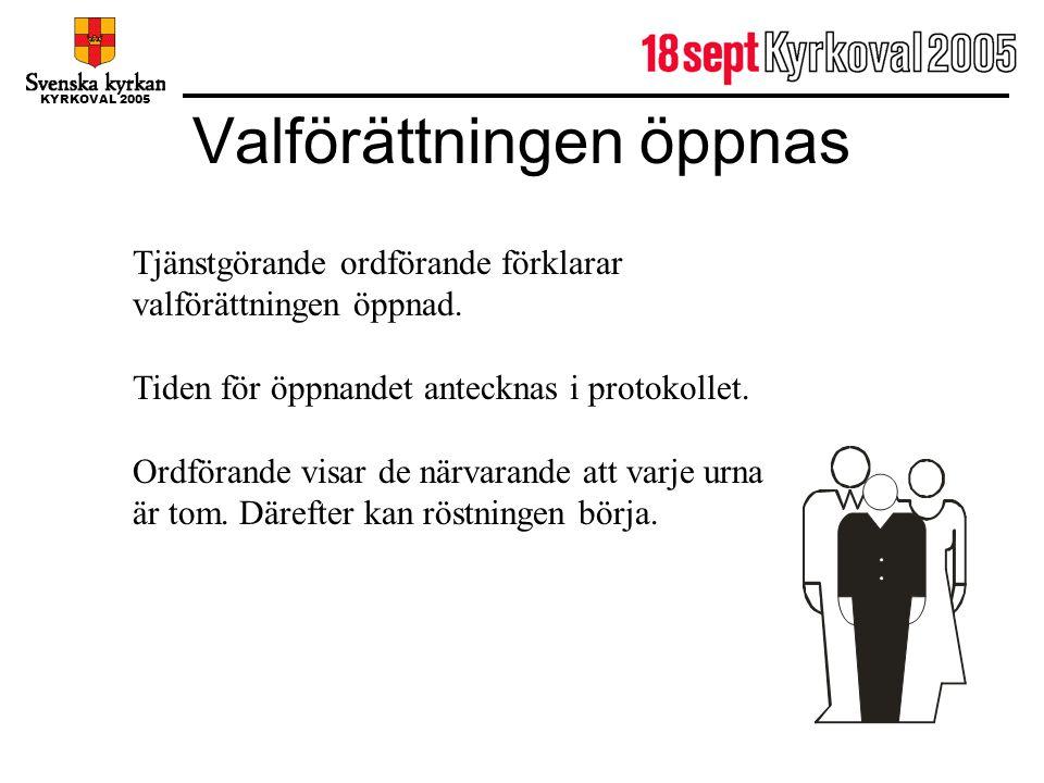 KYRKOVAL 2005 Valförättningen öppnas Tjänstgörande ordförande förklarar valförättningen öppnad. Tiden för öppnandet antecknas i protokollet. Ordförand