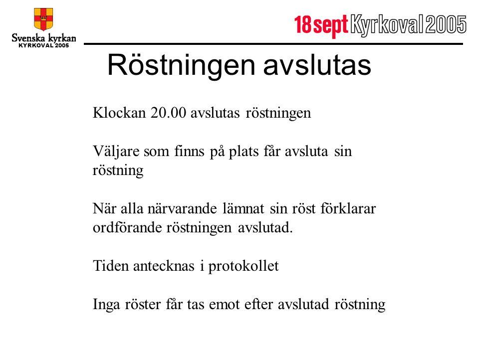 KYRKOVAL 2005 Röstningen avslutas Klockan 20.00 avslutas röstningen Väljare som finns på plats får avsluta sin röstning När alla närvarande lämnat sin