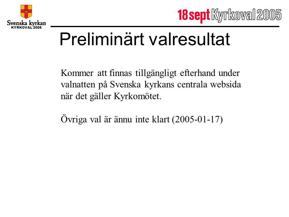 KYRKOVAL 2005 Preliminärt valresultat Kommer att finnas tillgängligt efterhand under valnatten på Svenska kyrkans centrala websida när det gäller Kyrk