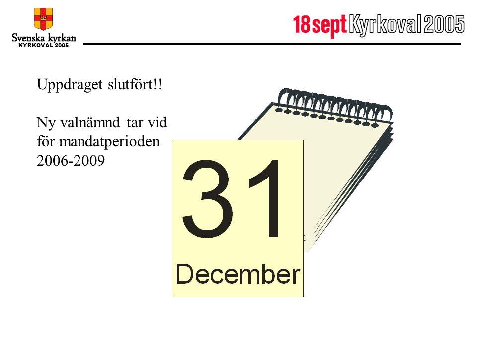 KYRKOVAL 2005 31 december Uppdraget slutfört!! Ny valnämnd tar vid för mandatperioden 2006-2009