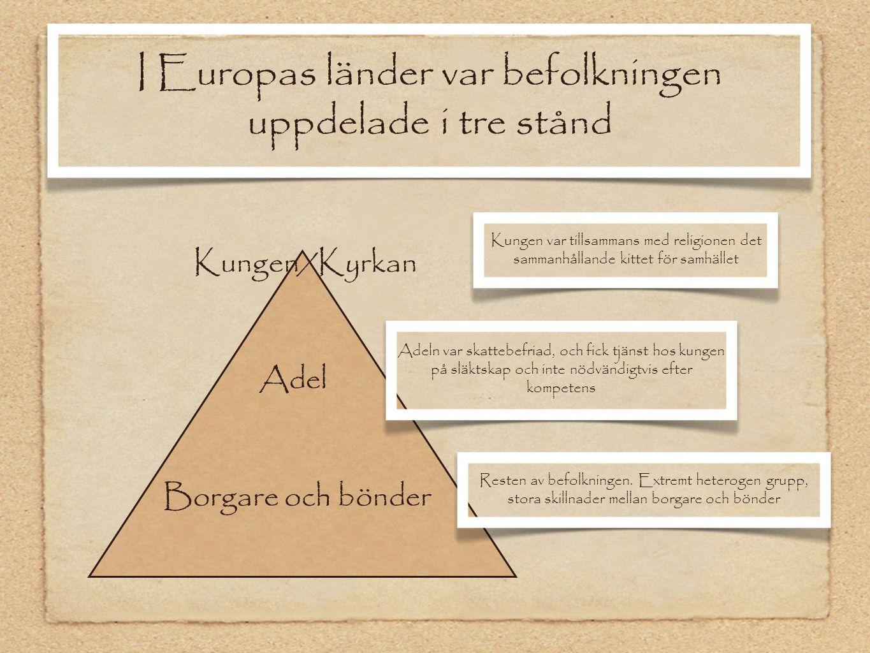 I Europas länder var befolkningen uppdelade i tre stånd Kungen/Kyrkan Kungen var tillsammans med religionen det sammanhållande kittet för samhället Ad