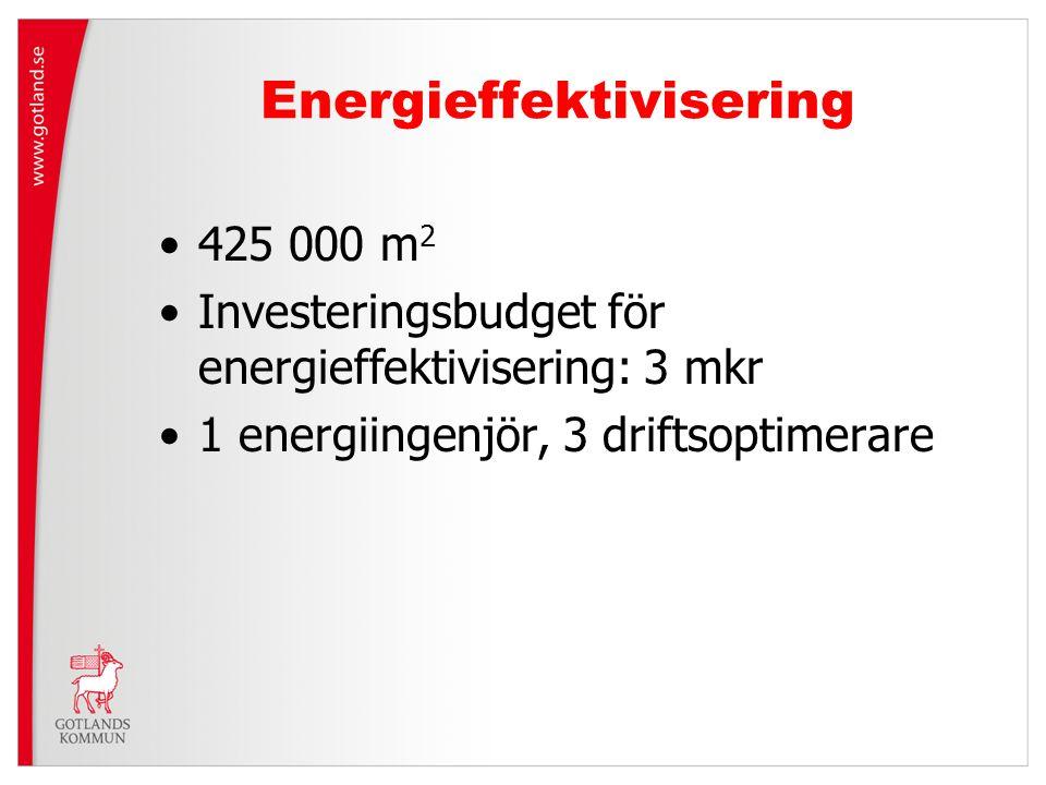 Energieffektivisering 425 000 m 2 Investeringsbudget för energieffektivisering: 3 mkr 1 energiingenjör, 3 driftsoptimerare