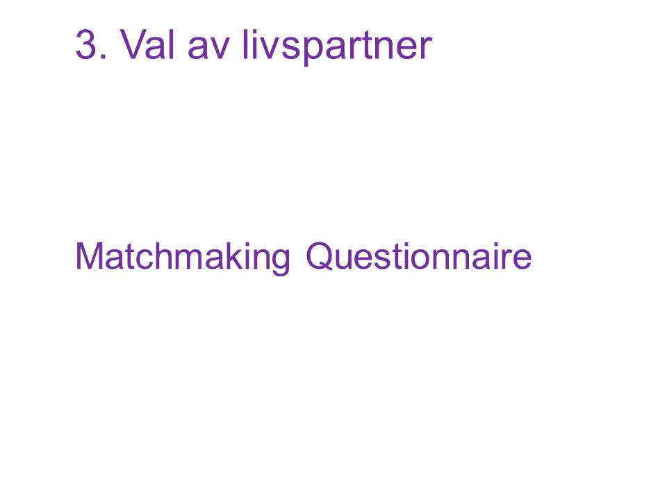 3. Val av livspartner Matchmaking Questionnaire