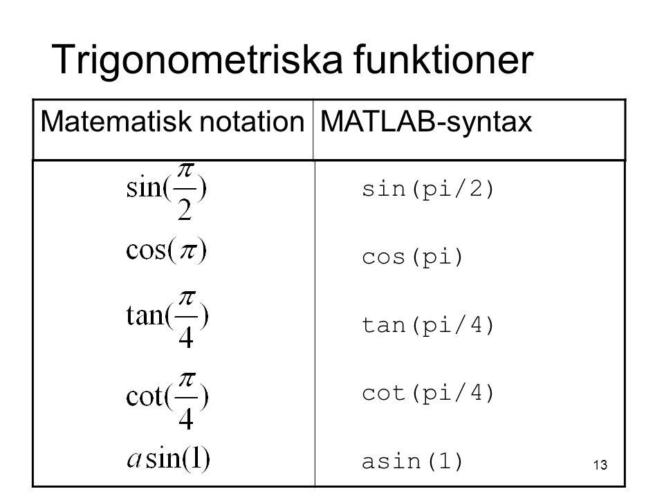 13 Trigonometriska funktioner sin(pi/2) cos(pi) tan(pi/4) cot(pi/4) asin(1) Matematisk notationMATLAB-syntax